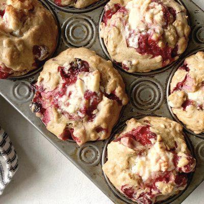 Muffins aux canneberges et chocolat blanc