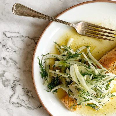 Filet de saumon aux agrumes et émincé de fenouil