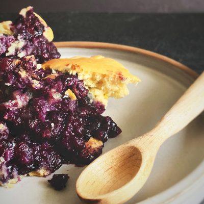Gâteau-pouding aux bleuets et zeste d'agrumes